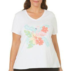 SunBay Plus Flamingo & Hibiscus V-Neck Top