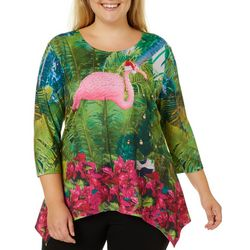 SunBay Plus Tropical Flamingo Holiday Top