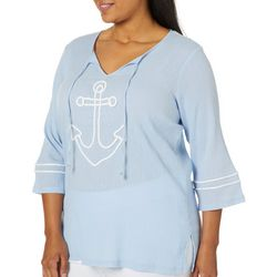 SunBay Plus Embroidered Anchor Tie Neck Gauze Top