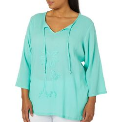 SunBay Plus Embroidered Palm Split Neck Gauze Top