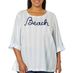 SunBay Plus Embroidered Beach Striped Gauze Top