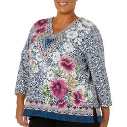 Alfred Dunner Plus Autumn Harvest Floral Embellished Top