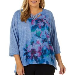 Alfred Dunner Plus Autumn Harvest Floral V-Neck Top