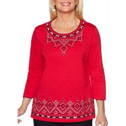 Alfred Dunner Plus Well Red Embroidered Detail Top