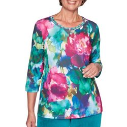 Alfred Dunner Plus Bright Idea Floral Print Top