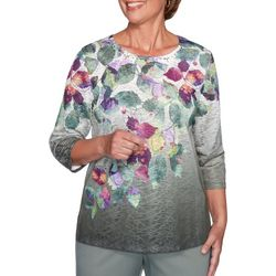 Alfred Dunner Plus Loire Valley Floral Jeweled Neck Top