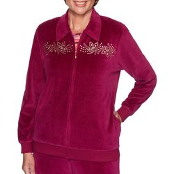 Alfred Dunner Plus Bright Idea Embellished Velour Jacket