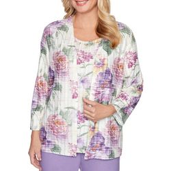 Alfred Dunner Plus Loire Valley Floral Print Duet Top