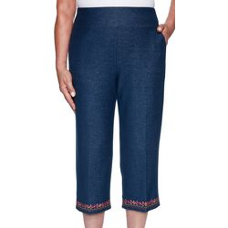Alfred Dunner Plus Road Trip Embroidered Hem Capris