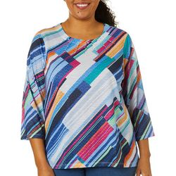 Alfred Dunner Plus Road Trip Diagonal Print Embellished Top
