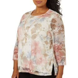 Alfred Dunner Plus Boardroom Collection Floral Overlay Top