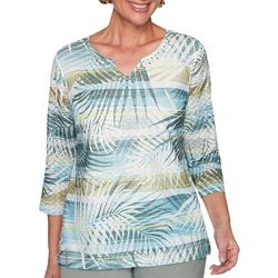 Alfred Dunner Plus Chesapeake Bay Striped Leaf Top