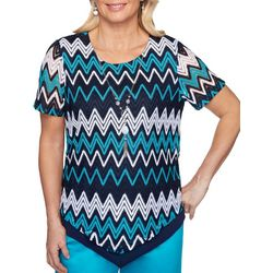 Alfred Dunner Plus Easy Street Chevron Necklace Top