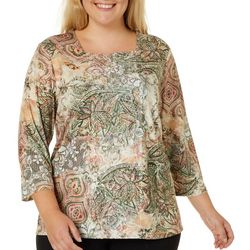 Alfred Dunner Plus Cedar Canyon Floral Medallion Print Top