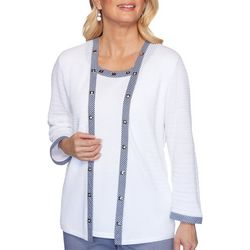 Alfred Dunner Plus Easy Street Gingham Trim Duet Top