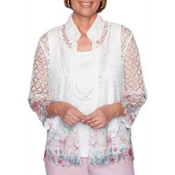 Alfred Dunner Plus Primrose Garden Lace Floral Duet Top