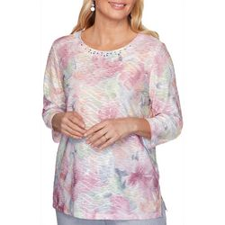 Alfred Dunner Plus Primrose Garden Lace Floral Top
