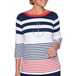 Alfred Dunner Plus Ship Shape Striped Jewel Anchor Top
