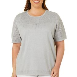 Alfred Dunner Plus Beaded Pointelle Sweater Top
