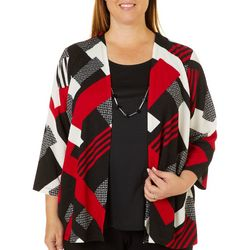 Alfred Dunner Plus Sutton Place Geometric Duet Top