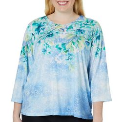 Alfred Dunner Plus Simply Irresistible Lace Neck Top