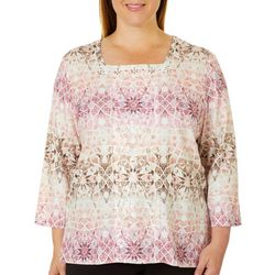 Alfred Dunner Plus Home For The Holidays Mosaic Print Top