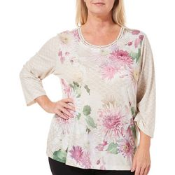 Alfred Dunner Plus Home For The Holidays Mixed Floral Top