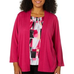 Alfred Dunner Plus Finishing Touch Geometric Duet Top