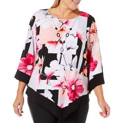 Alfred Dunner Plus Floral Geometric & Necklace Poncho Top