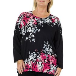 Alfred Dunner Plus Asymmetrical Flower Print Sweater