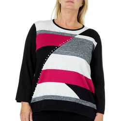Alfred Dunner Plus Embellished Colorblocked Sweater
