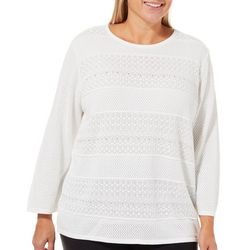 Alfred Dunner Plus Textured Biadere Sweater