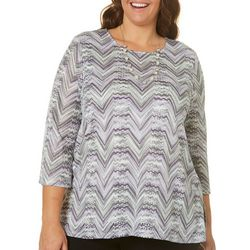 Alfred Dunner Plus Zig Zag Textured Top