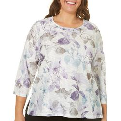 Alfred Dunner Plus Shadow Floral Print Top