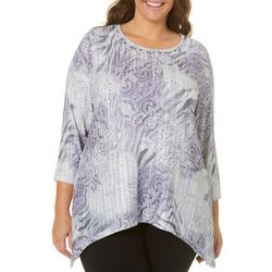 Alfred Dunner Plus Abstract Animal Medallion Print Top