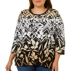 Alfred Dunner Plus Travel Light Floral Chevron Top