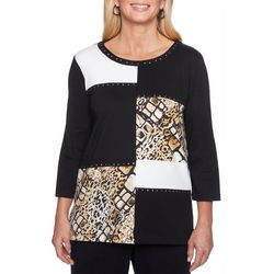 Alfred Dunner Plus Travel Light Animal Patchwork Top