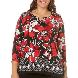 Alfred Dunner Plus Barcelona Geometric Floral Top