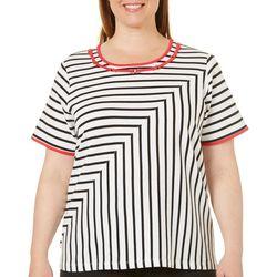 Alfred Dunner Plus Embellished Stripe Print Top
