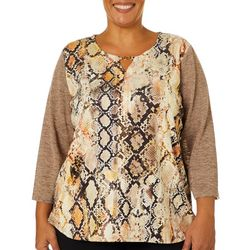 Alfred Dunner Plus Street Smart Snakeskin Colorblock Top
