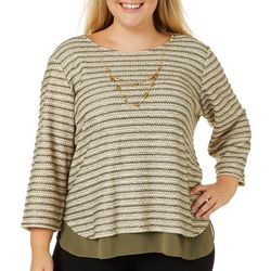 Alfred Dunner Plus Cedar Canyon Necklace & Stripe Top
