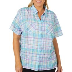 f9916b064 Alfred Dunner Plus Catalina Island Burnout Plaid Top