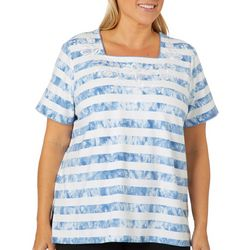Alfred Dunner Plus Monterey Embroidered Tie Dye Stripe Top