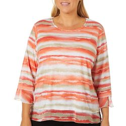 Alfred Dunner Plus Martinique Watercolor Stripe Top
