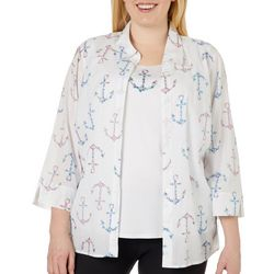 Alfred Dunner Plus Smooth Sailing Floral Anchor Duet Top