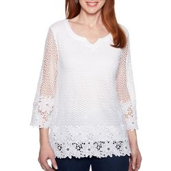 Alfred Dunner Plus Smooth Sailing Crochet Lace Top