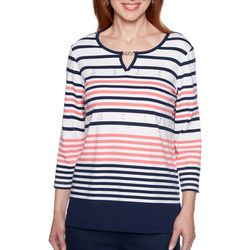 Alfred Dunner Plus Smooth Sailing Striped Anchor Top