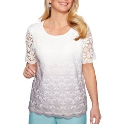 Alfred Dunner Plus Versailles Ombre Lace Top