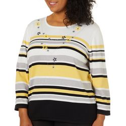 Alfred Dunner Plus Native New Yorker Striped Sweater