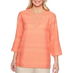 Alfred Dunner Plus Martinique Textured Lace Neck Top